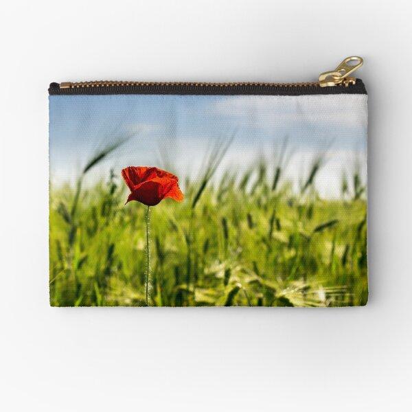 red poppy in the wheat field Zipper Pouch