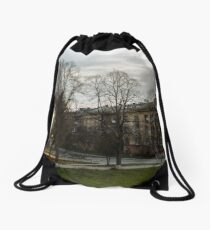 old city street in the morning Drawstring Bag