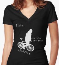Fixie - one bike one gear - skidding (white) Fitted V-Neck T-Shirt