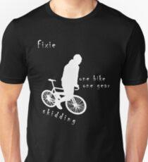 Fixie - one bike one gear - skidding (white) Slim Fit T-Shirt