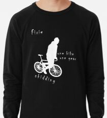 Fixie - one bike one gear - skidding (white) Lightweight Sweatshirt