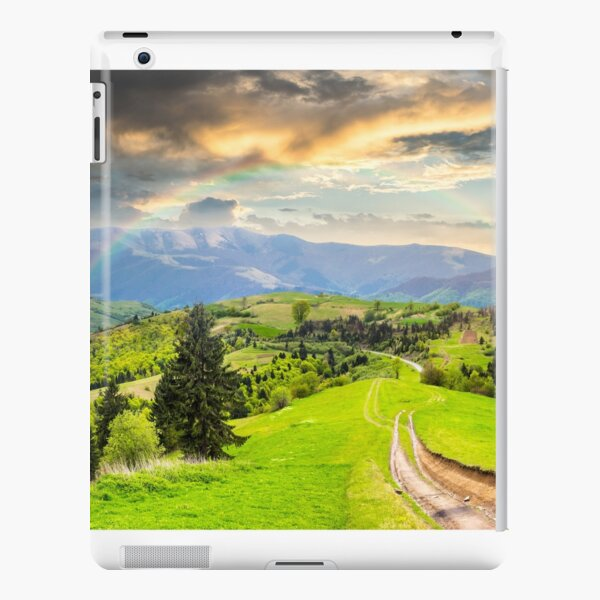 road through the meadow on hillside iPad Snap Case