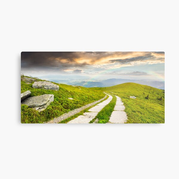 road on a hillside near mountain peak Metal Print