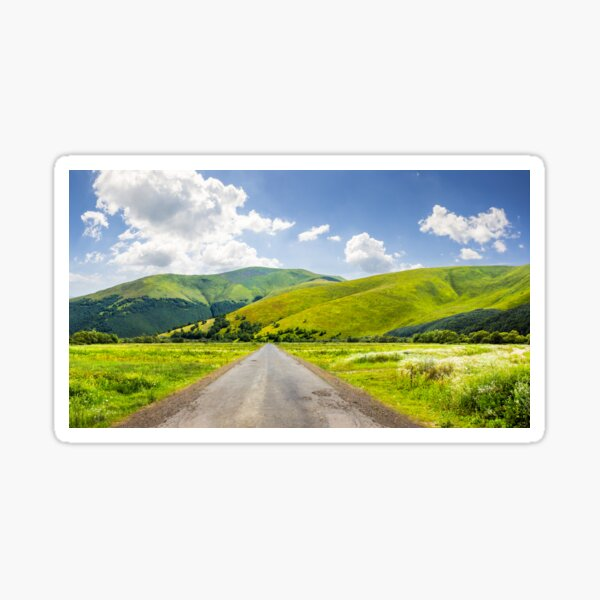 abandoned road through meadows in mountain Sticker