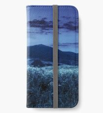 meadow with flowers in mountains at night iPhone Wallet/Case/Skin