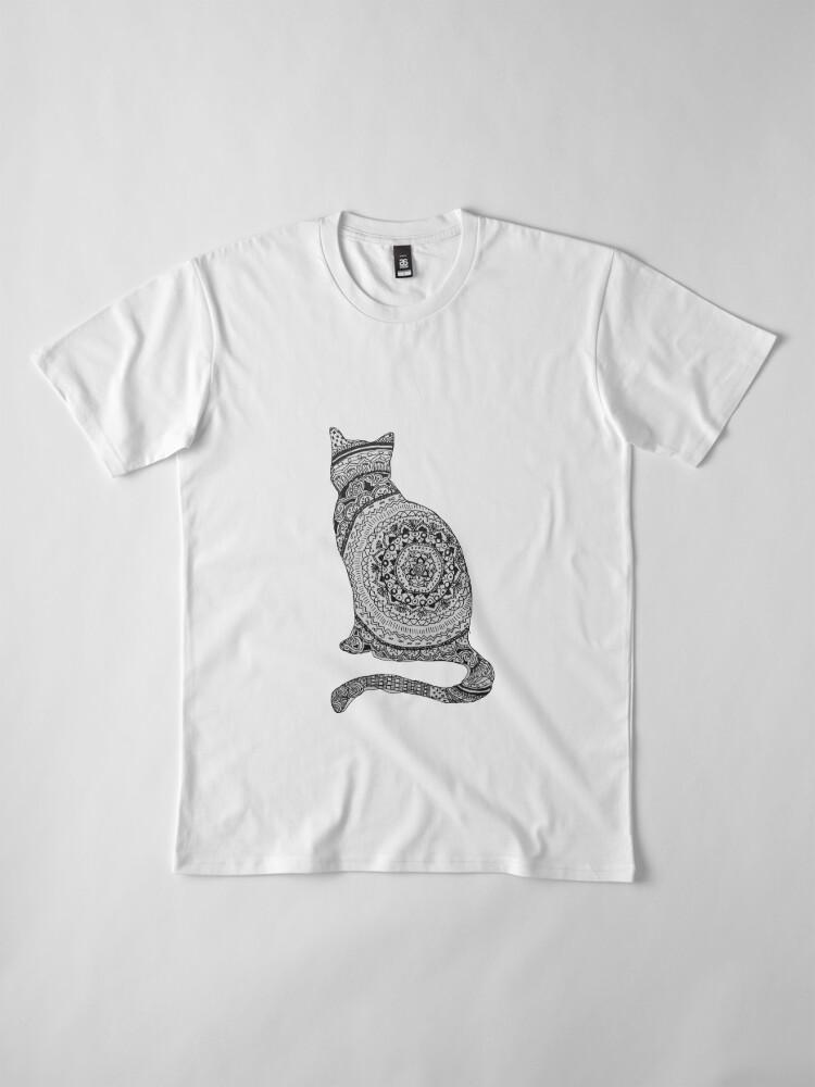 Vista alternativa de Camiseta premium gato mandala
