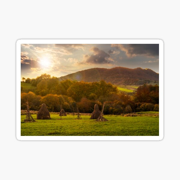 agriculture field in mountains at sunset Sticker