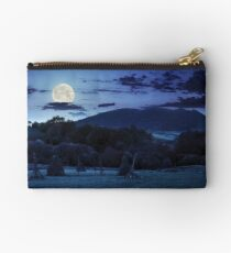 agriculture field in mountains at night Studio Pouch