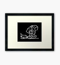 Sad astronaut pulling space shuttle (black) Framed Print