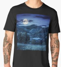 pine trees near meadow in mountains at night Men's Premium T-Shirt