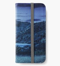 pine trees near meadow in mountains at night iPhone Wallet/Case/Skin