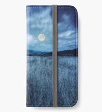 meadow with high grass in mountains at night iPhone Wallet/Case/Skin