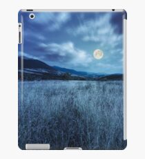 meadow with high grass in mountains at night iPad Case/Skin