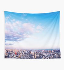 Tokyo tower in beautiful aerial scenery Tokyo city under vast blue sky art photo print Wall Tapestry