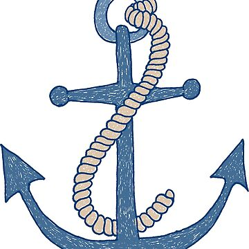 Hand drawn scribbly blue anchor with rope by MheaDesign