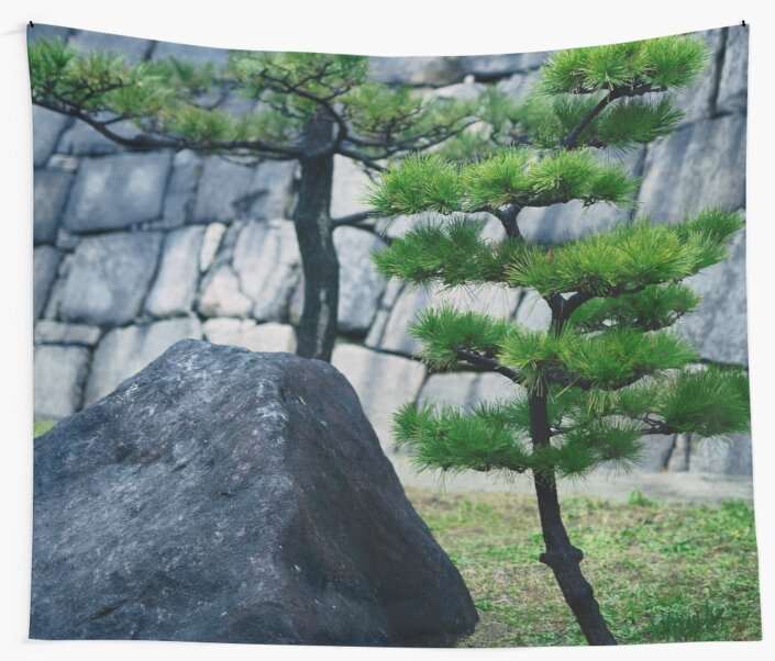 Japanese black pine trees and a rock in front of stone wall art ...
