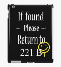 If Found Please Return to 221B iPad Case/Skin