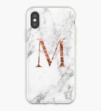 Monogram rose marble M iPhone Case