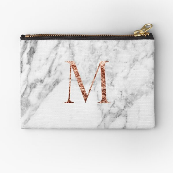 Monogram rose marble M Zipper Pouch