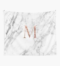 Monogram rose marble M Wall Tapestry