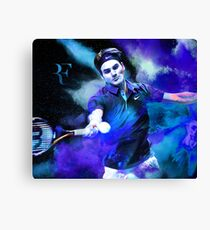 Roger Federer Blue Canvas Print