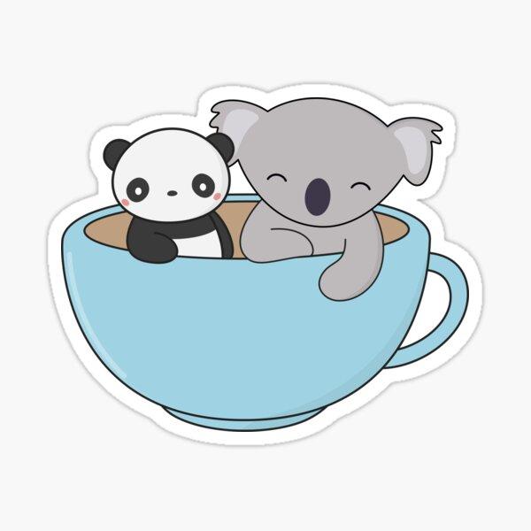 Kawaii Cute Koala y Panda Pegatina