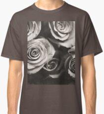 Medium format analog black and white photo of white rose flowers Classic T-Shirt