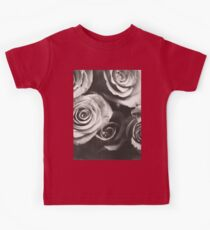 Medium format analog black and white photo of white rose flowers Kids Tee
