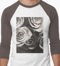 Medium format analog black and white photo of white rose flowers Men's Baseball ¾ T-Shirt