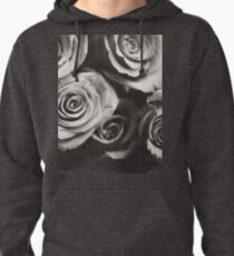 Medium format analog black and white photo of white rose flowers Pullover Hoodie