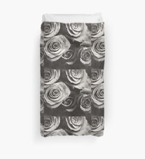 Medium format analog black and white photo of white rose flowers Duvet Cover