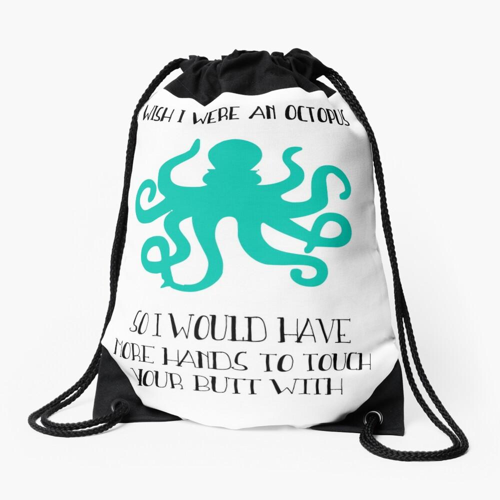 I wish I were an octopus Drawstring Bag