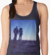 Romantic couple walking holding hands on beach in blue Medium format color negative film photo Women's Tank Top