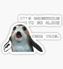 Its dangerous to go alone, take this - weird Porg owl bird from Star Wars Sticker