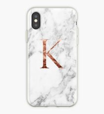 Monogram rose marble K iPhone Case