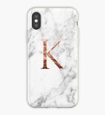 Monogram rose marble K iPhone Case