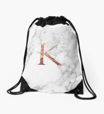 Monogram rose marble K Drawstring Bag
