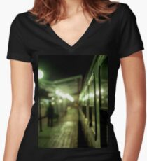 Old train at night in empty station green square Hasselblad medium format film analog photograph Women's Fitted V-Neck T-Shirt
