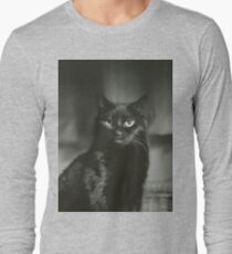 Portrait of black cat square black and white analogue medium format film Hasselblad  photograph Long Sleeve T-Shirt