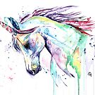 Unicorn Watercolor Painting by Lisa Whitehouse