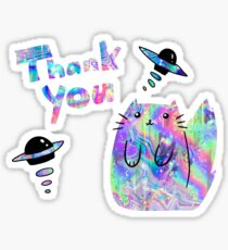 """""""Thank You"""" Space Holographic Cat Sticker"""