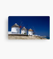 Mykonos windmills, Greece Canvas Print