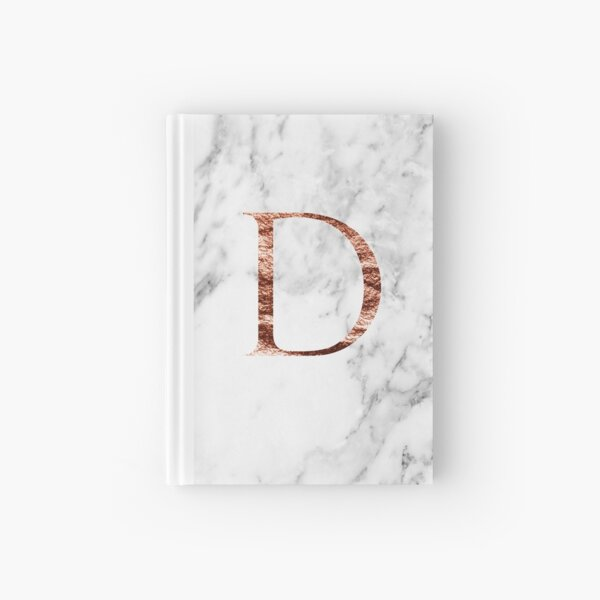 Monogram rose marble D Hardcover Journal