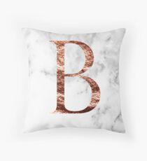 Monogram rose marble B Throw Pillow