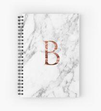 Monogram rose marble B Spiral Notebook