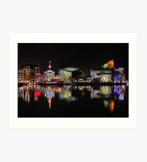 Inner Harbor in Baltimore, Maryland at Night Art Print