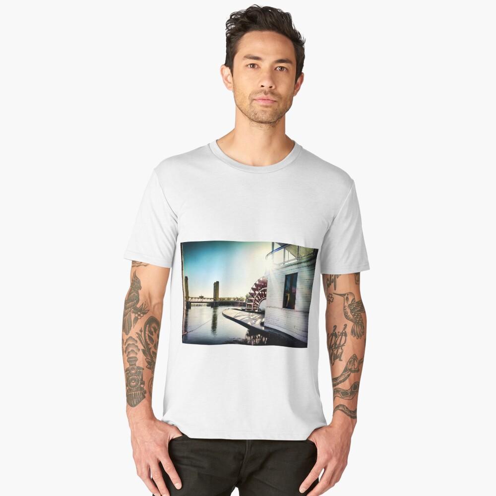 Steamboat Stern wheel and The Tower Bridge of Sacramento Men's Premium T-Shirt Front