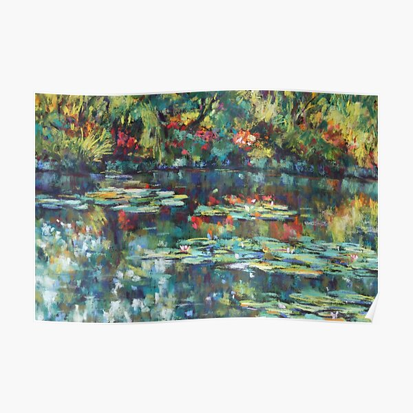 Monet garden reflections Poster