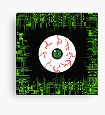 Robotic Matrix Code Eye Canvas Print