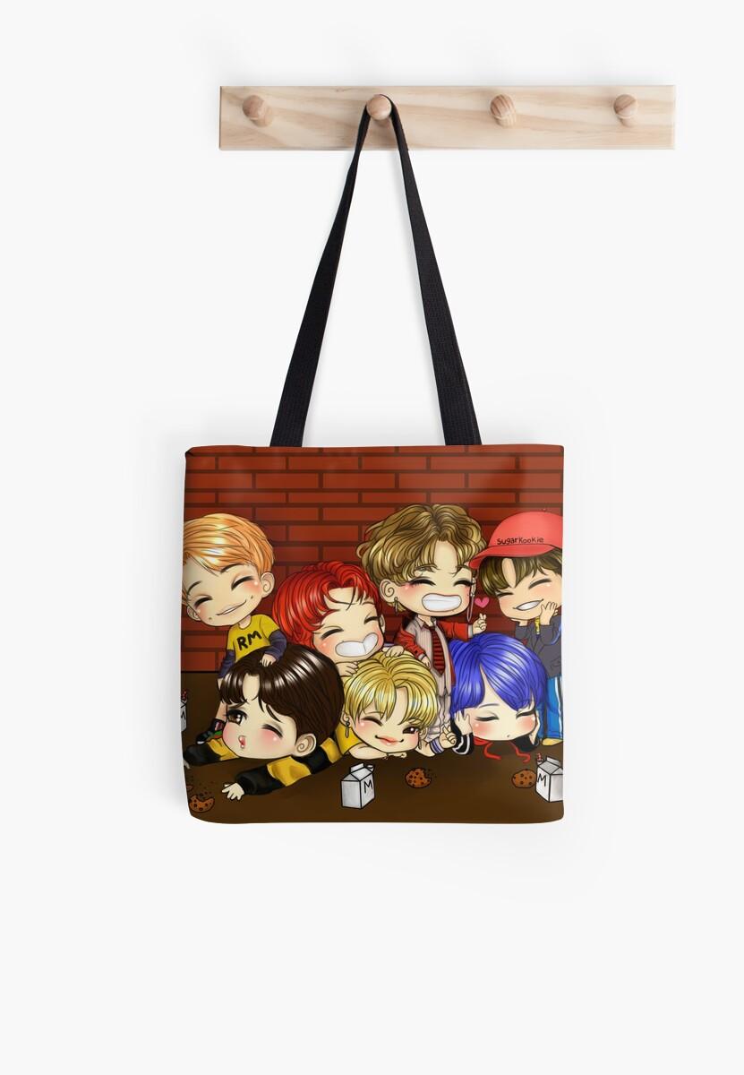 Bts Chibi Digital Drawing Tote Bags By Bannanamilk Redbubble